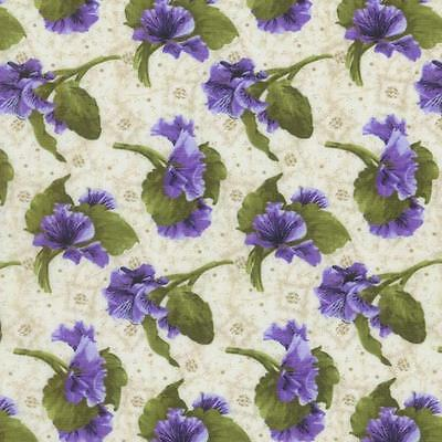 RJR Debbie Beave Lovely Purple Cream Pansy Tone Floral Quilt Fabric 1446--002 3C