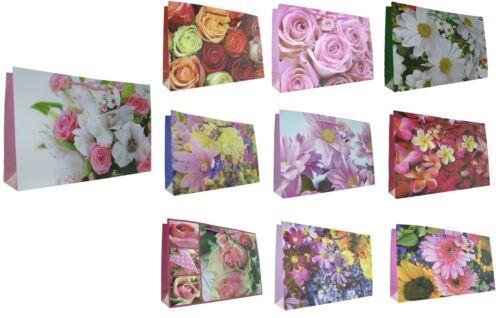 Tiere 38 x 26 x 10 cm 10 Stück Geschenktüten GROSS Blumen Querformat