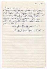 "Herald ""Bee Bop"" Gordon Handwritten Autographed Letter Negro League Baseball ALS"