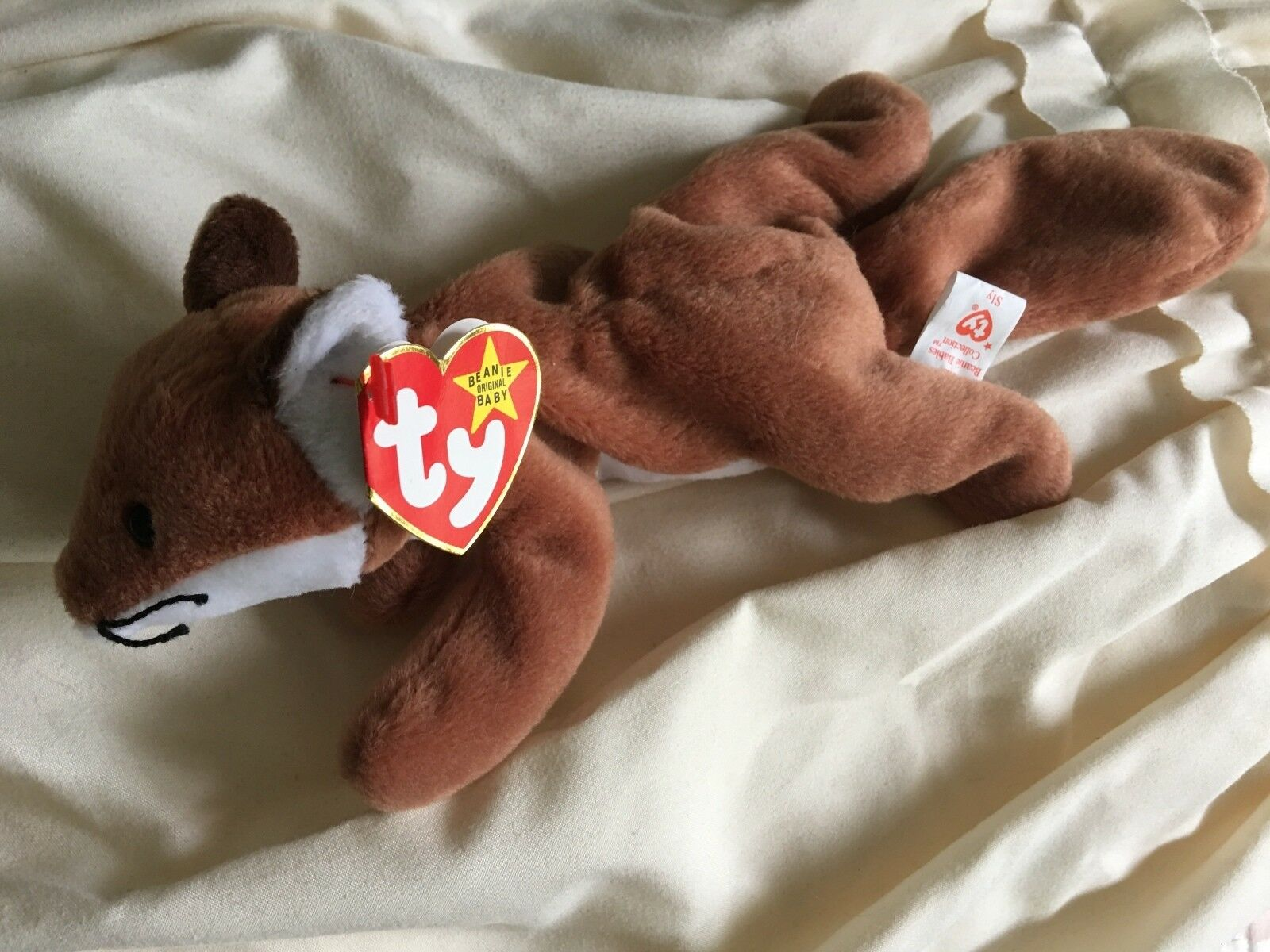 RARE 1996 Sly The Fox Ty Beanie Babies PVC Pellets Många ERROR