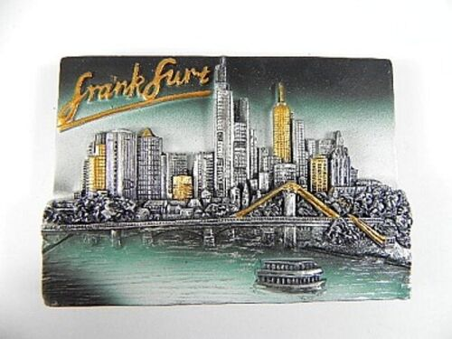 Frankfurt Skyline,Germany,Souvenir Magnet Poly 3 D Optik,NEU,8 cm,gold silber