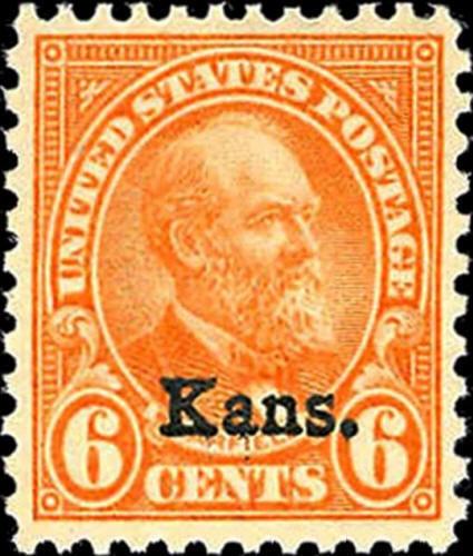 """1929 6c James A. Garfield """"Kansas Overprint"""" Scott 664"""