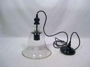pottery barn rustic glass bell jar pendant light fixture chandelier