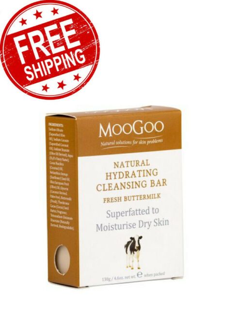 MooGoo Natural Hydrating Cleansing Bar Bath Body Therapeutic Butter Milk 130g