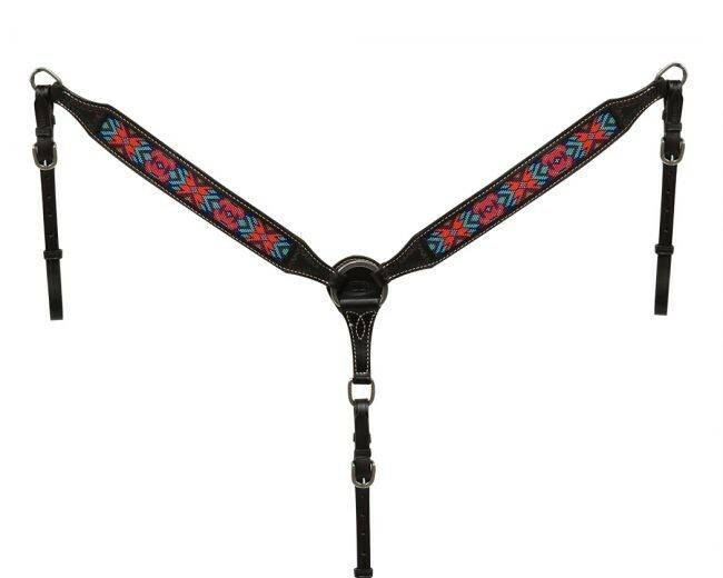 Showman DARK CHOCOLATE silverina  Cow Leather Breast Collar w  Beaded Inlay  NEW   fishional store for sale