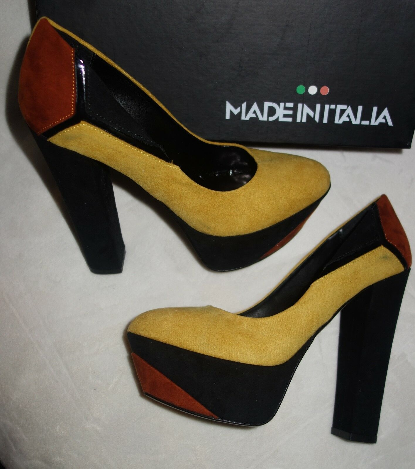 Made in in in Italia Platform Pumps multi color Suede yellow Size 35` new 2b1d8d