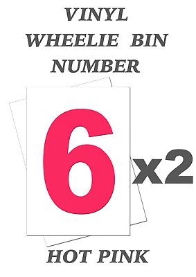 Black Bin Number 6 Self Adhesive Waterproof Vinyl Stickers 170mm Set of 2