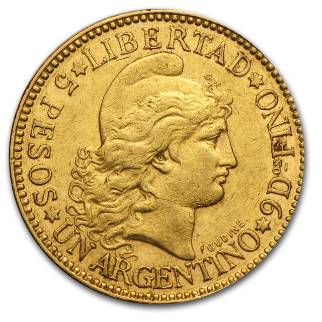 Argentina 5 Peso Gold Coin - Random Year Coin - SKU #23610