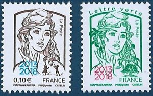 Marianne-Ciappa-2-timbres-surcharge-2013-2018-Salon-Philex-Neuf-LUXE