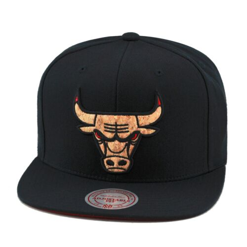 "Mitchell /& Ness Chicago Bulls Snapback Hat Black///""CORK/"" lebron 12 10 ext"