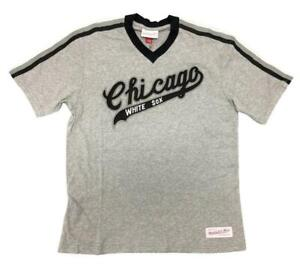 Mitchell-amp-Ness-Heather-Grey-MLB-Chicago-White-Sox-Overtime-Win-V-Neck-T-Shirt