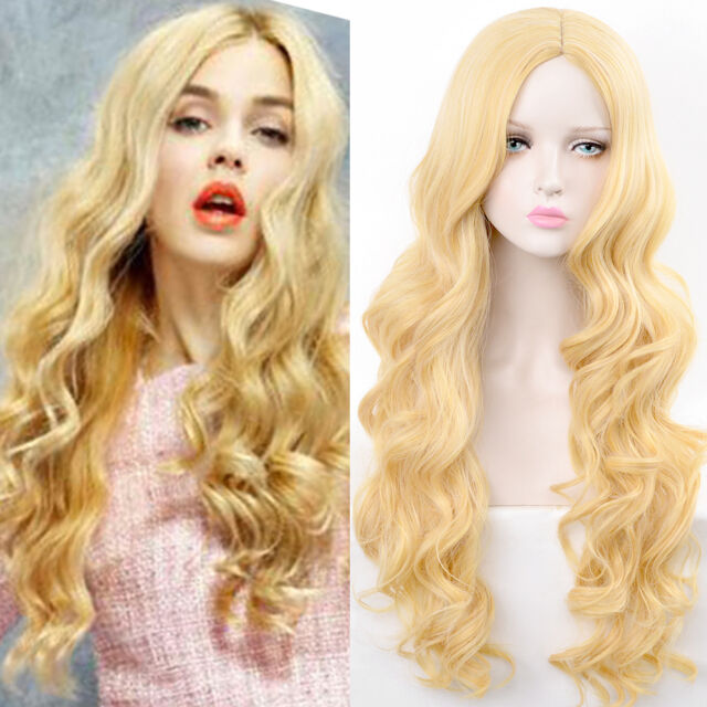 Women s Fashion Lady Long Wavy blonde Hair Party Cosplay Full Synthetic Wig ace03ecc0409