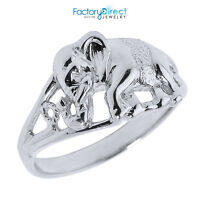 Solid 14k White Gold Openwork Elephant Ring