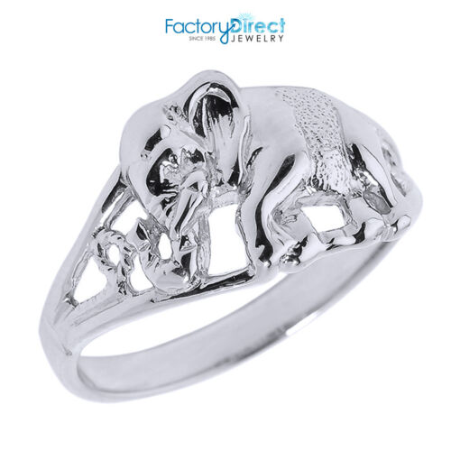 14k solide or blanc ajourée Elephant Ring