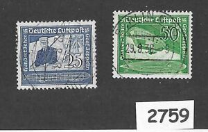 #2759   Stamp set / 1938 Graf Zeppelin & Hindenburg / Germany / Third Reich era