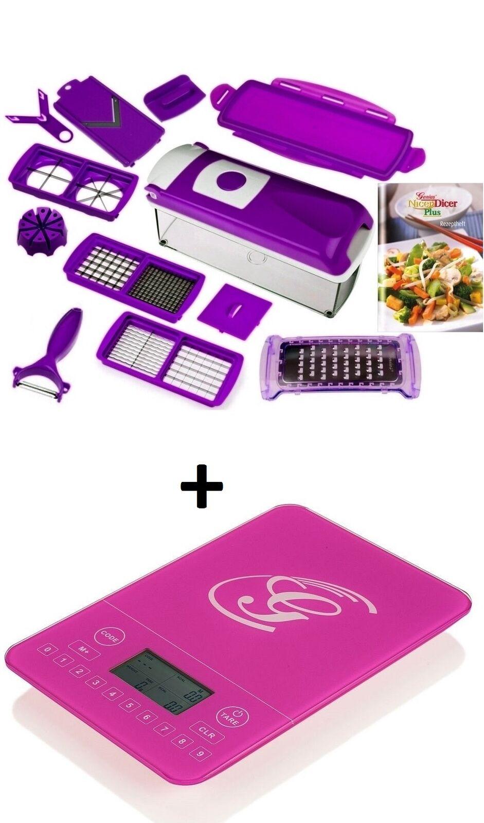 Genius Nicer Dicer plus légumes schneider Multi tailleur 14-tlg violet + balance de cuisine balance