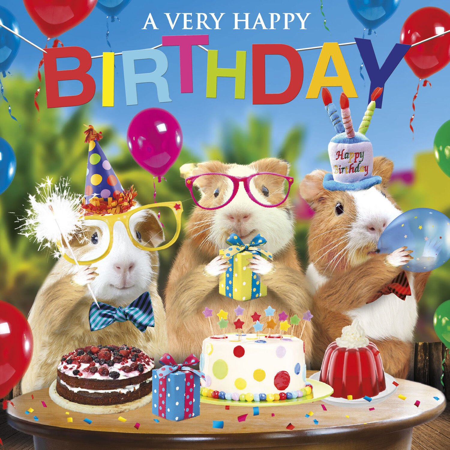 Funny Guinea Pig Birthday Card Birthday Fun Party Hats