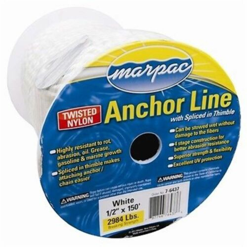 Marpac White 1/2x200' Twisted Nylon Anchor Line D20-62000 MD