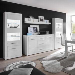 Das Bild Wird Geladen Wohnkombi 45 Bianco Wohnwand Anbauwand Wohnzimmer Set  Wohnmoebel