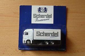 Modellino-autocarro-per-birra-Rimorchio-trasporto-MERCEDES-ACTROS-SCHERDEL-HS-22