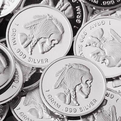 "1 gram .999 Fine silver bullion bar NEW! /""Indian Chief/"" Design Lot of 10"