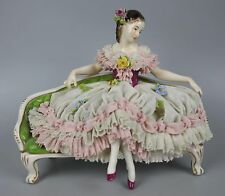 Dresden Volkstedt figurine Lady Sitting on Sofa WorldWide