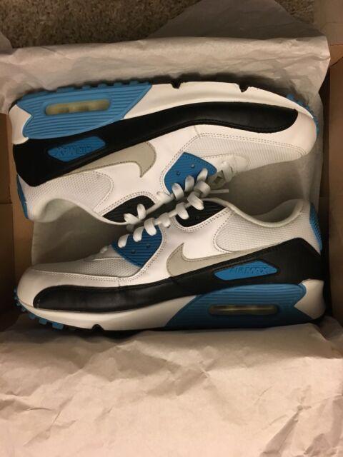 arrives 5647c 6c25b Nike Air Max 90 Laser Blue Us 9.5 White black-zen Grey