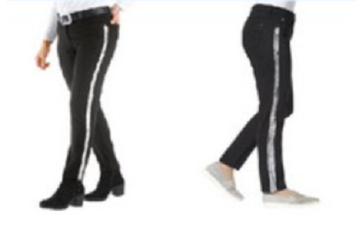 734042 Witt Weiden Damen Hose Jeans schwarz Kontraststreifen silber Größe 38 NEU