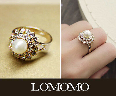 18K Rose Gold Plated Sunflower Swarovski Crystals Pearl Cluster Ring R341