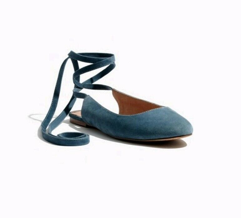 Madewell April Ankle Strap Suade Flats 7.5