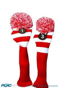 Tour-1-amp-3-Driver-Fairway-Wood-Red-amp-White-Golf-Headcover-Knit-Pom-Pom-Cover