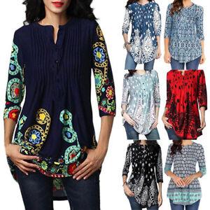 Damen-Vintage-Sommer-Plus-Size-Tops-Bluse-3-4-Kurzarm-laessig-Tunika-Shirts