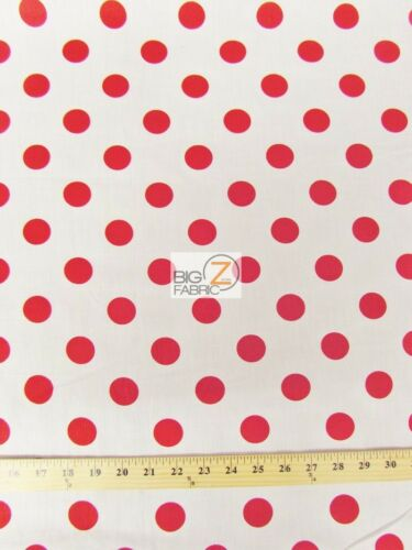 """BIG POLKA DOT POLY COTTON PRINT FABRIC-White//Red-SOLD BTY POLYCOTTON 58/""""//59/"""" P99"""