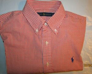 LNC-Ralph-Lauren-Polo-Classic-Fit-Large-L-L-S-Orange-White-Checkered-Shirt-PONY