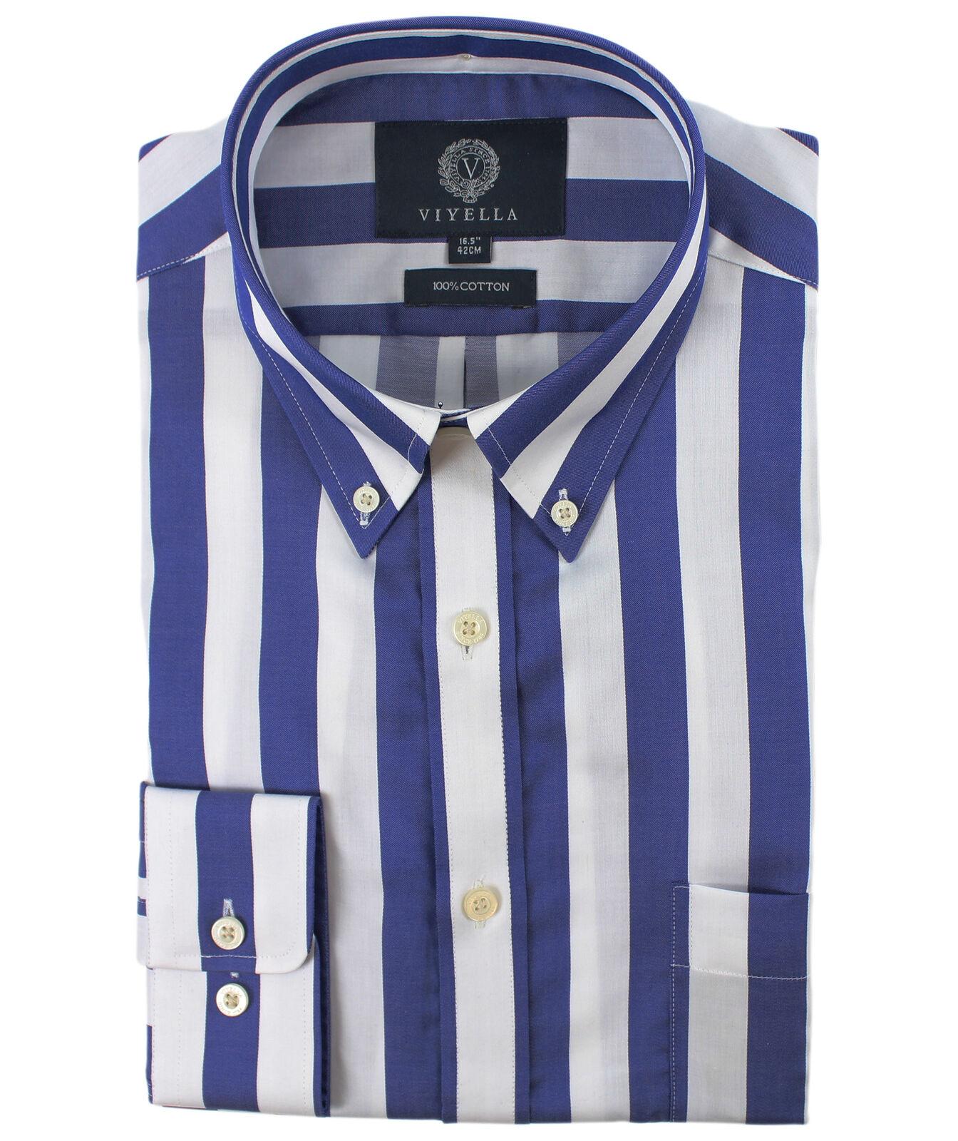 Viyella Navy & bianca BLOCK BLOCK BLOCK STRIPE Cotone Camicia a maniche lunghe c4e199