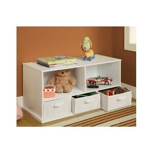 details about kids room storage bench cubby nursery white wood baskets