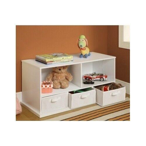 Kids Storage White Wood Bench Cubby Nursery Room Baskets Chest Bins Organizer