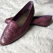 Flings Susan Leather Ballet Flats Shoes Purple Plum Size 7.5M
