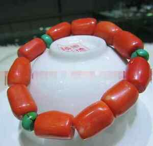 natural-red-coral-cylindrical-turquoise-spacers-bracelets-7-5-Inch