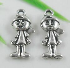30pcs Tibetan Silver Boy Pendants Charms 19x8mm  (Lead-free)