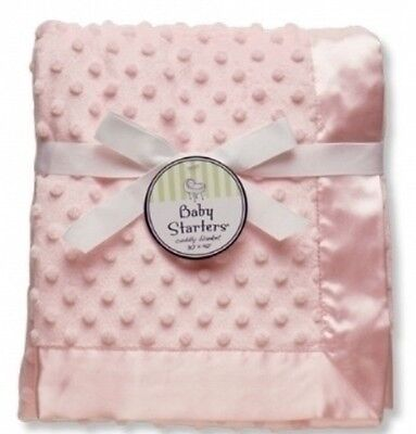 Baby Starters Textured Dot Blanket with Satin Trim  Pink Personalized