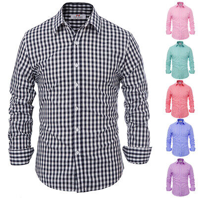 PAUL JONES Mens Stylish Slim Fit Grid Pattern Long Sleeve Hooded Shirt Tops
