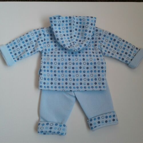Baby boys clothes Two piece fleece lined hooded top trouser set bear 0-9 months
