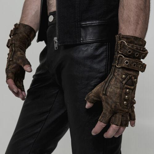Punk Rave Mens Steampunk Fingerless Gloves Military Gothic Dieselpunk motocycle