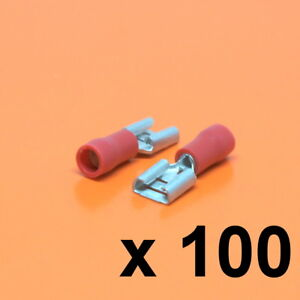 100 x 63mm Red Female Insulated Electrical Wiring Terminal Crimp Connector - Luton, Bedfordshire, United Kingdom - 100 x 63mm Red Female Insulated Electrical Wiring Terminal Crimp Connector - Luton, Bedfordshire, United Kingdom