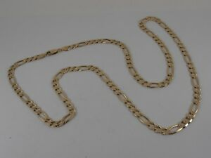 9ct-YELLOW-GOLD-FIGARO-NECK-CHAIN-NECKLACE-28-034-LONG-35-grams-HALLMARKED