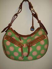 DOONEY & BOURKE CIRCLE HOBO GREEN/PINK POLKA DOT SHADOW LOGO SHOULDER BAG