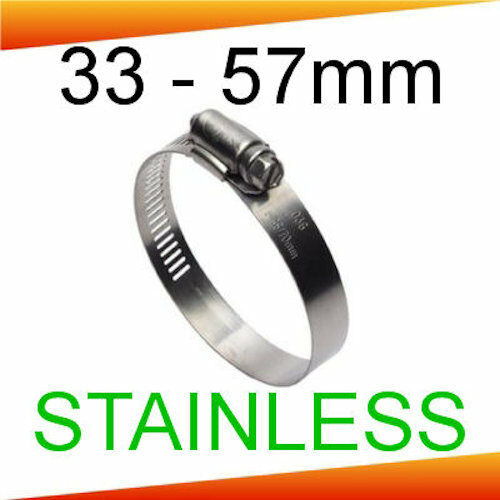 57mm Stainless Steel 13mm Wide Hose Clips 33mm 5 PACK