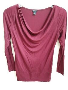 Ann-Taylor-LOFT-burgundy-red-long-sleeve-drape-neck-HOLIDAY-blouse-shirt-top-XS