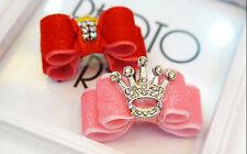 2PCS Yorkshire Bows Dog Hair Bows Crown Velvet Bows Rhinestone Princess Luxury